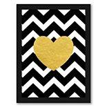 Americanflat Chevron Gold Heart Framed Wall Art