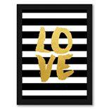 """Americanflat """"Love Gold Brush Script"""" Framed Wall Art"""