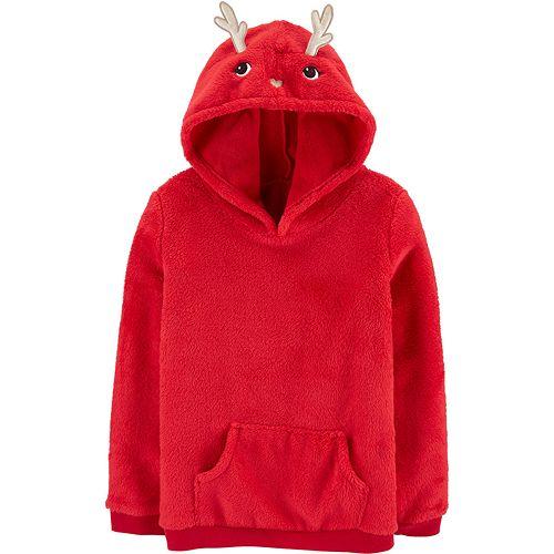 Girls 4-12 Carter's Reindeer Pullover Fuzzy Hoodie