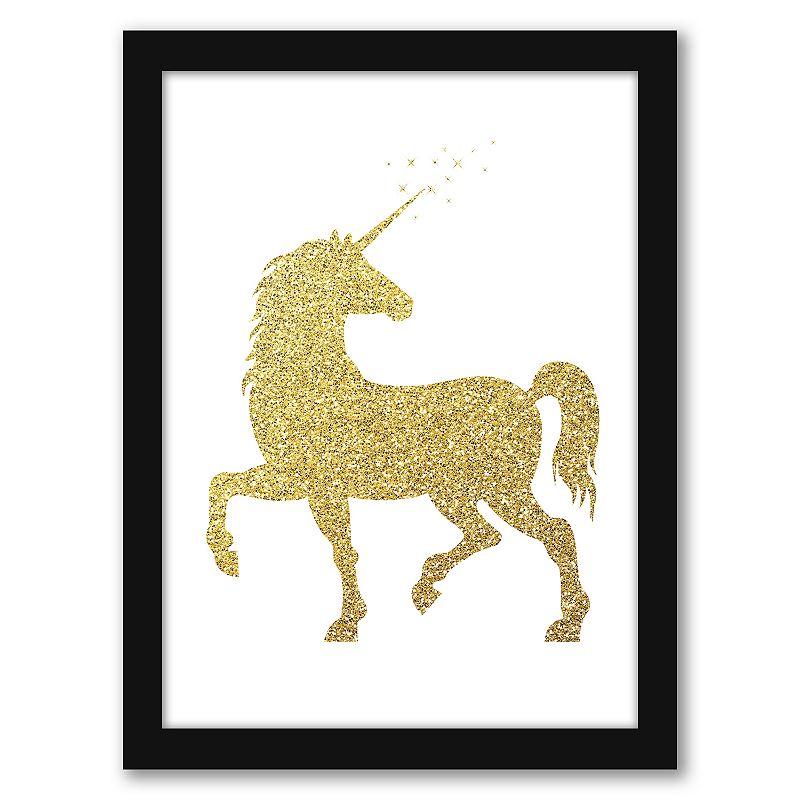 """Americanflat """"Gold Glitter Unicorn"""" Framed Wall Art. Multicolor. 15X12"""