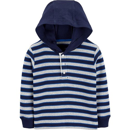 Toddler Boy Carter's Striped Thermal Hooded Top
