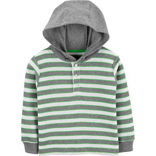 Toddler Boy Carter's Striped Thermal Hooded Henley Top