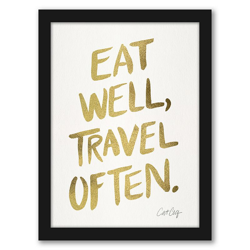 """Americanflat """"Eat Well. Travel Often"""" Gold Framed Wall Art. Multicolor. 15X12"""