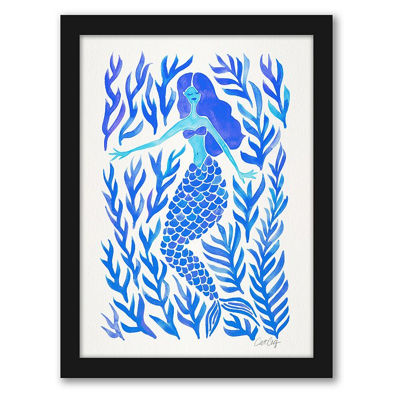 """Americanflat """"Kelp Forest Mermaid Blue"""" Framed Wall Art. Multicolor. 25X19"""