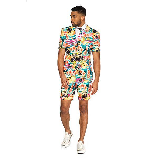 Men's OppoSuits Slim-Fit Aloha Novelty Summer Suit & Tie Set