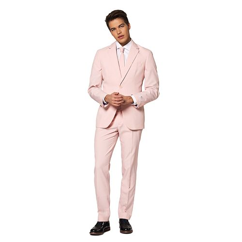 Men's OppoSuits Slim-Fit Lush Blush Solid Suit & Tie Set