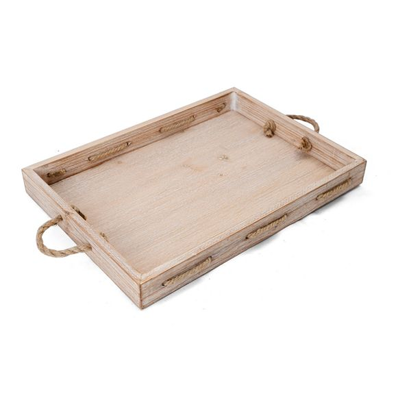 Elements Wood Tray with Rope Handles