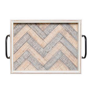 Elements White Wash Wood Tray