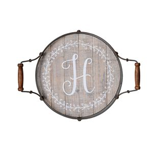 "Elements Round Monogram ""H"" Wood Tray"