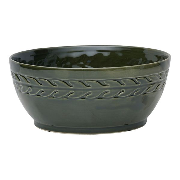 Elements Green Braided Stoneware Bowl