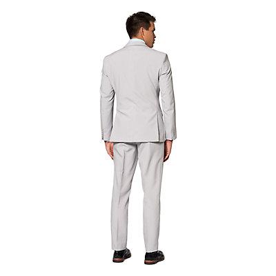 Men's OppoSuits Slim-Fit Groovy Grey Solid Suit & Tie Set