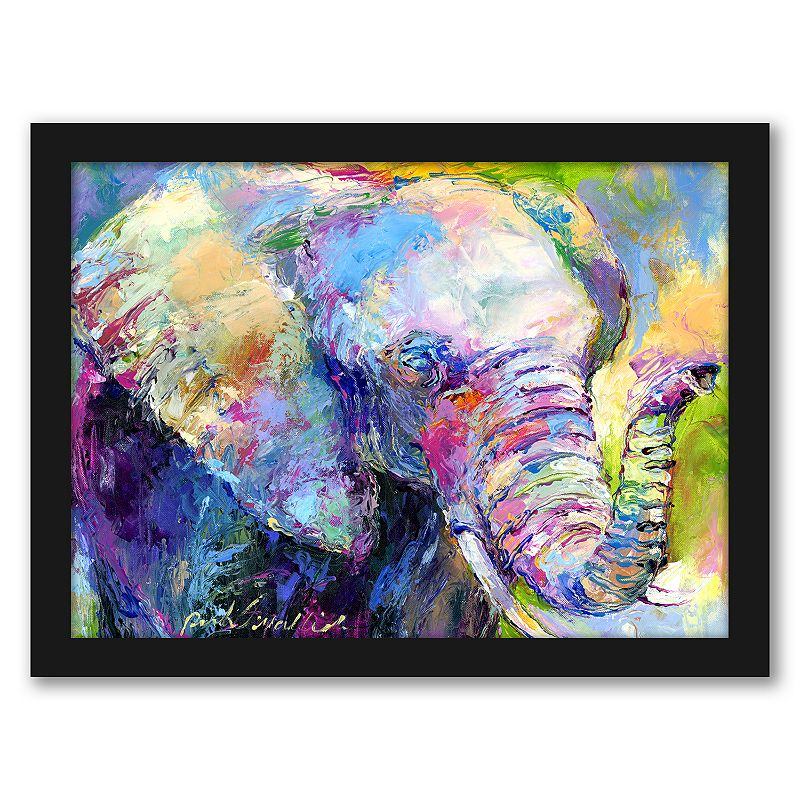 """Americanflat """"Elephant"""" Framed Wall Art. Multicolor. 15X12"""