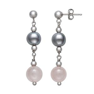 Sterling Silver Gray Freshwater Pearl, Rose Quartz and Silver Bead Earrings