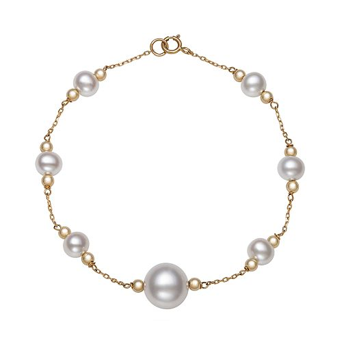 14K Yellow Gold Freshwater Pearl and Gold Bead Station Bracelet