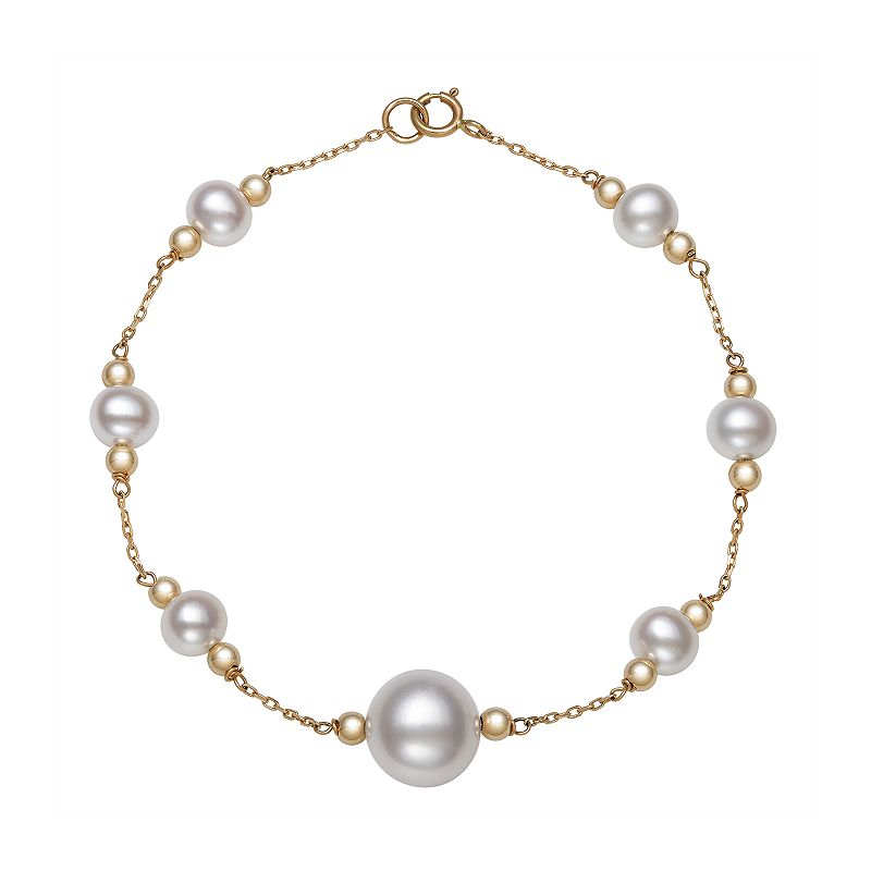 """14K Yellow Gold Freshwater Pearl and Gold Bead Station Bracelet, Women's, Size: 7.5"""", White"""
