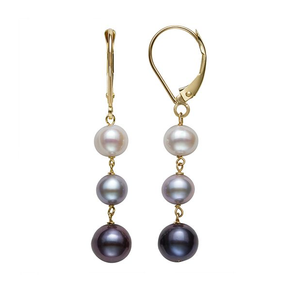 14K Yellow Gold White, Gray & Black Freshwater Pearl Earrings