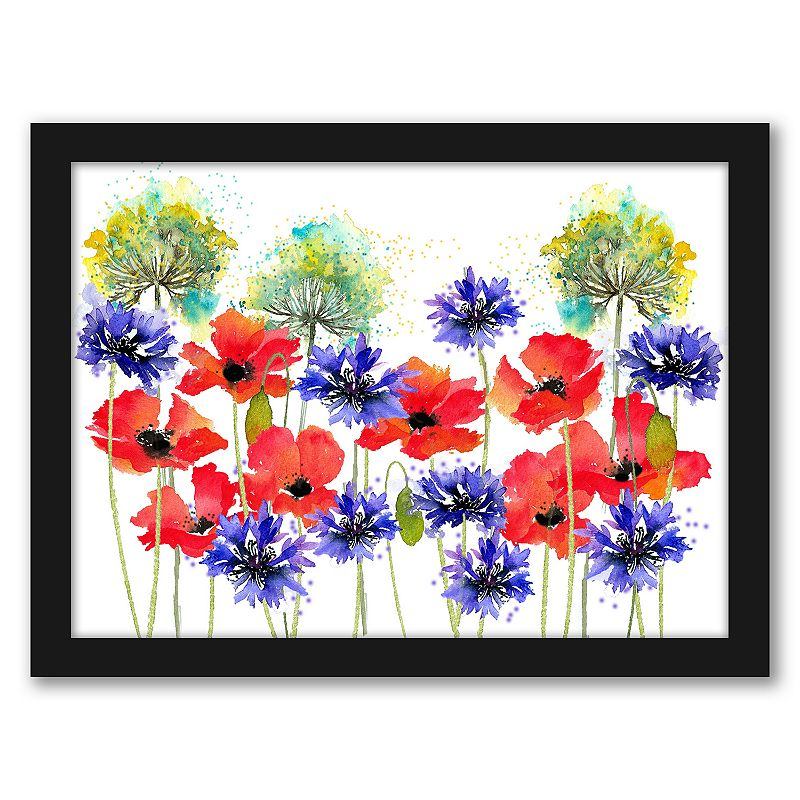 """""""Americanflat """"""""Poppies. Parsley. and Cornflowers"""""""" Framed Wall Art. Multicolor. 15X12"""""""
