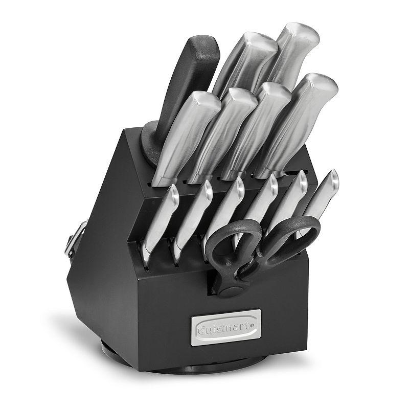 Cuisinart Classic 15-pc. Stainless Steel Rotating Knife Block Set, Black