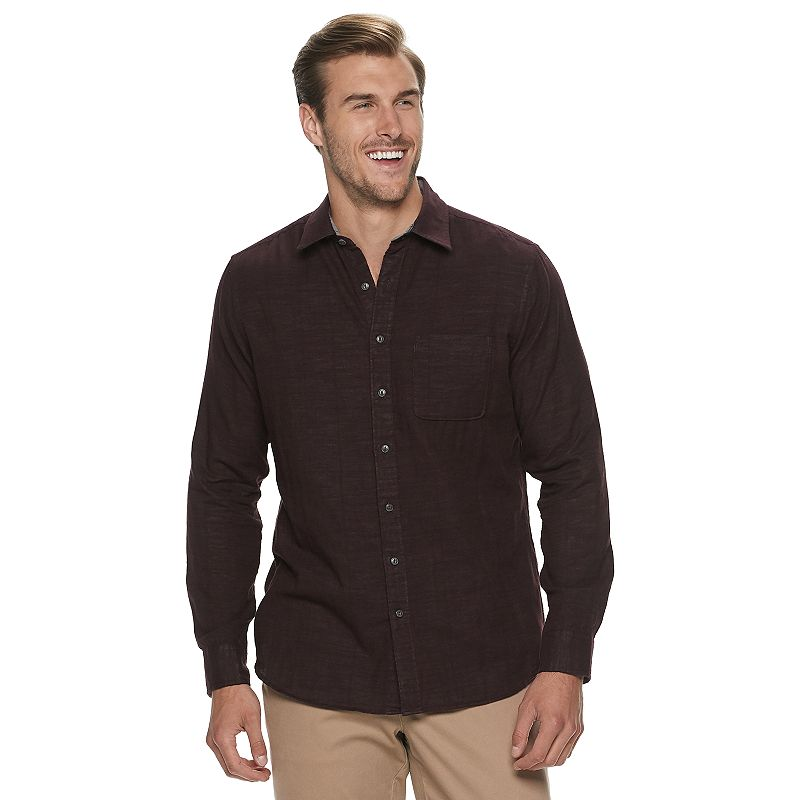 Big & Tall Sonoma Goods For Life Double Weave Shirt, Men's, Size: Large Tall, Drk Purple