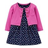 Baby Girl Carter's Floral Bodysuit Dress & Polka-Dot Cardigan Set
