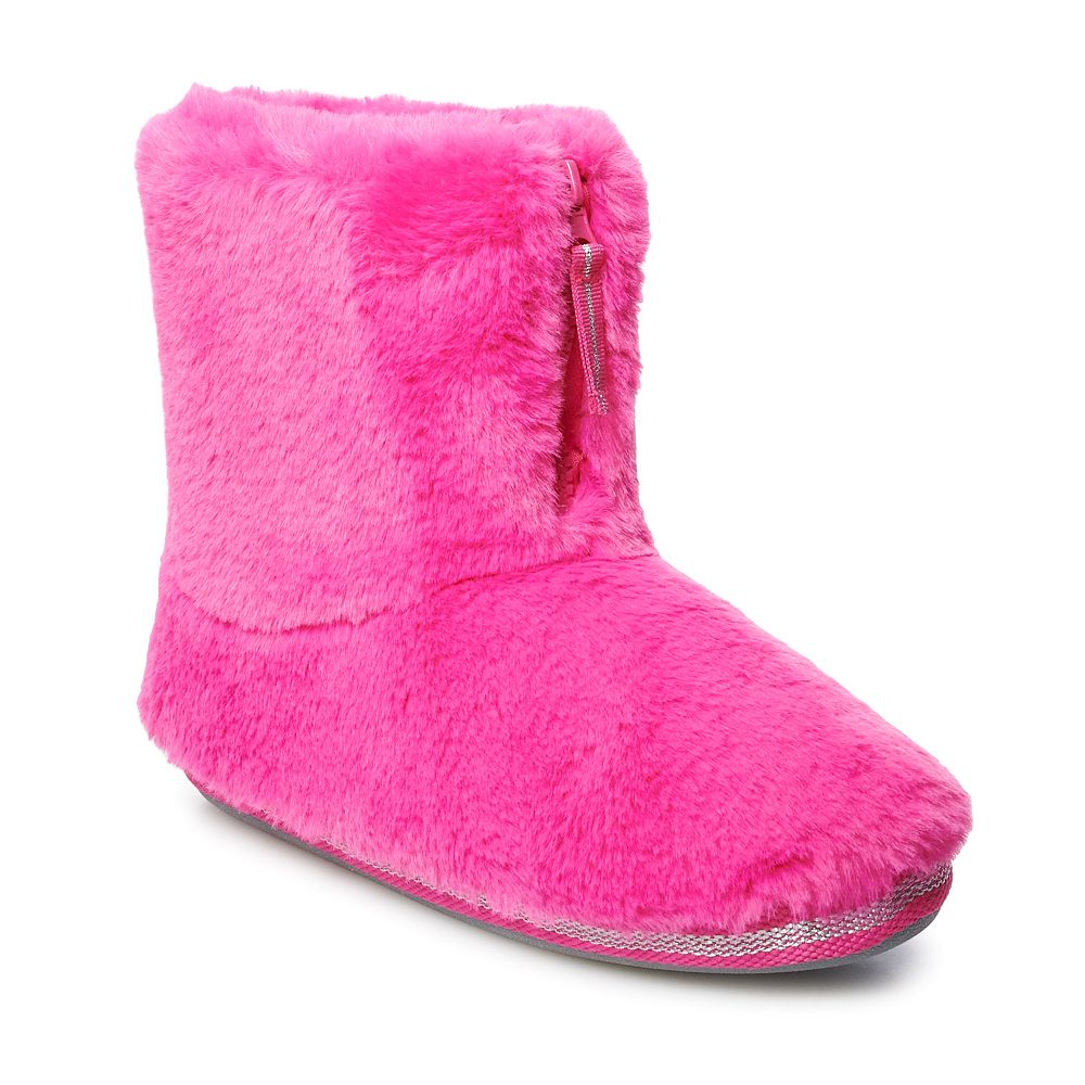 Juniors' SO® Faux Fur Zip Bootie Slippers