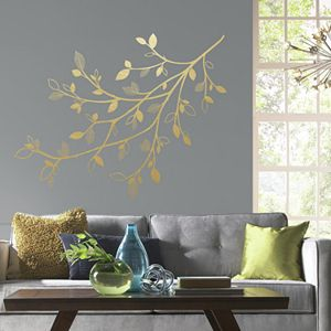 Room Mates Gold Branch Wall Decals With 3D Leaves