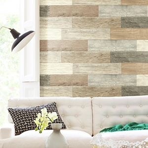 Room Mates Distressed Barn Wood Plank Wall Decal