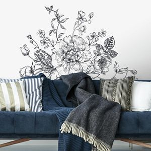 Room Mates Black And White Peony Wall Decals