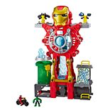Playskool Heroes Marvel Super Hero Adventures Iron Man Headquarters Playset, Iron Man and Hulk 2.5-Inch Action Figures, Vehicle, Toys for Kids Ages 3 and Up