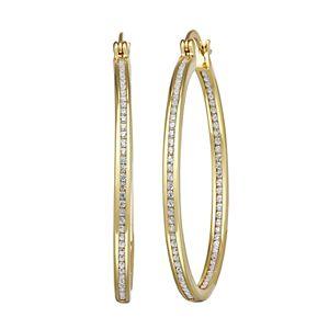 Sterling Silver & Cubic Zirconia Hoop Earrings