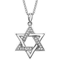 PRIMROSE Sterling Silver Cubic Zirconia Star of David Pendant Necklace
