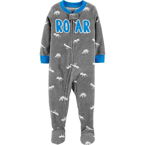 "Toddler Carter's Fleece ""Roar"" Dinosaur Footed Pajamas"