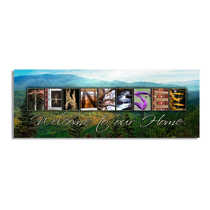 """""""Tennessee """"""""Welcome"""""""" Block Wall Art. Multicolor. 9.5X26"""""""