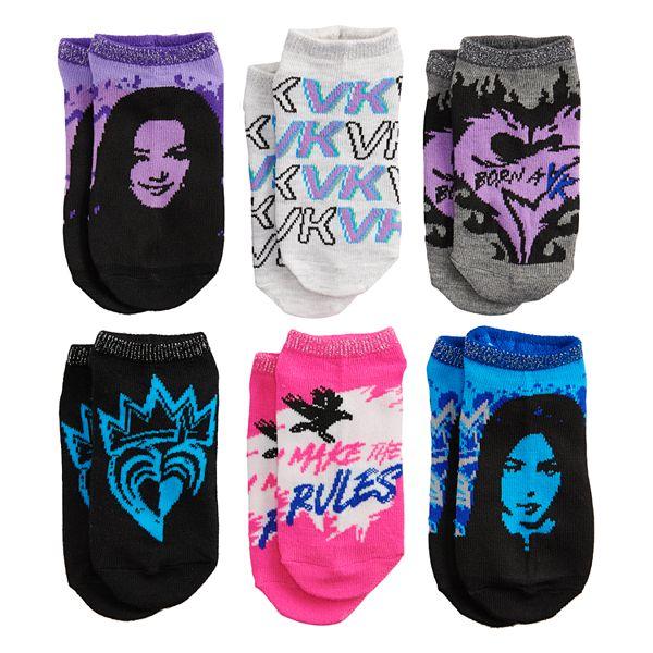 Disney Descendants 3 Girl 6-Pack No-Show Socks
