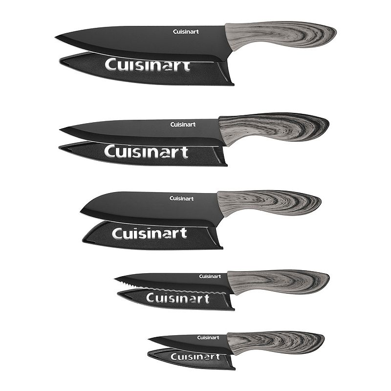Cuisinart Advantage 10-pc. Ceramic-Coated Faux Wood Knife Set, Black