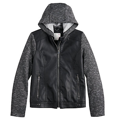 Girls 7-20 SO Faux Leather Zip-Up Jacket