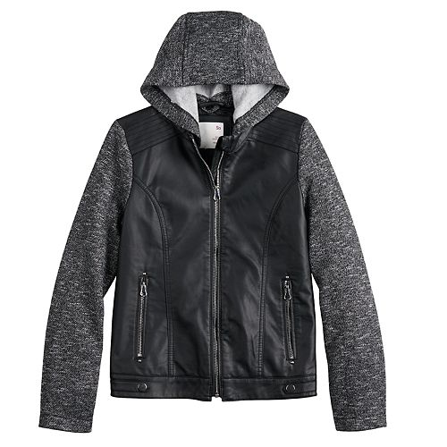 Girls 7-20 SO® Faux Leather Zip-Up Jacket