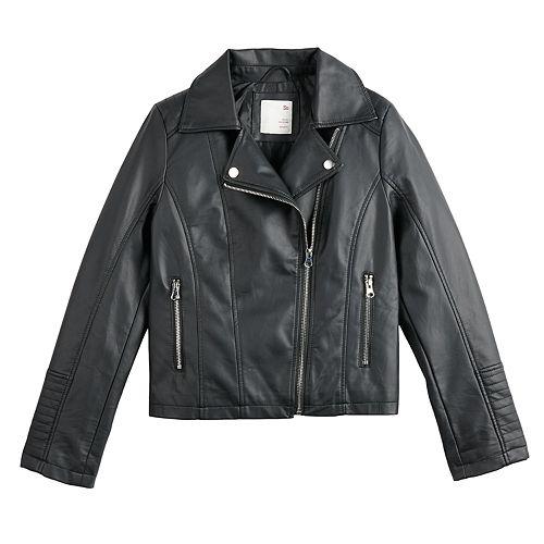 Girls' 4-20 SO® Peplum Faux Leather Jacket