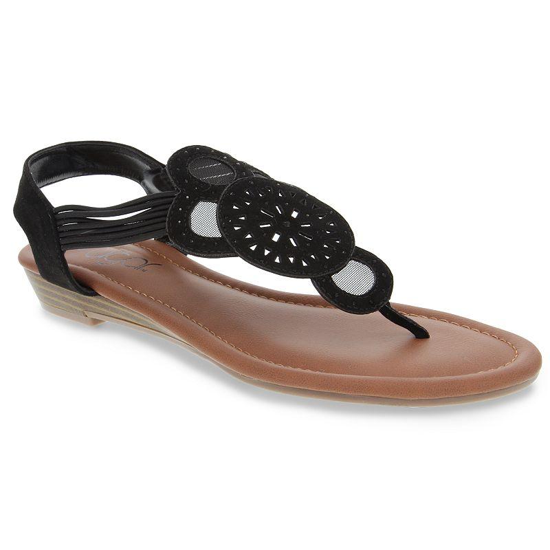 sugar Camey Women's Slingback Thong Sandals, Size: 9, Black