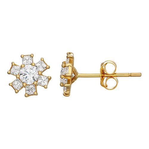 10k Gold Cubic Zirconia Star Stud Earrings