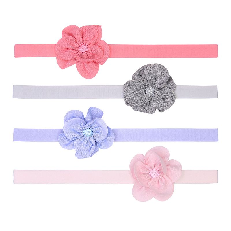 Baby Girl Fruit of the Loom 4 Pack Floral Headwraps. Size: 0-12Months. Multicolor