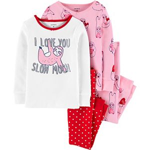 Baby Girl Carter's 4 Piece Valentine's Day Sloth Pajama Set