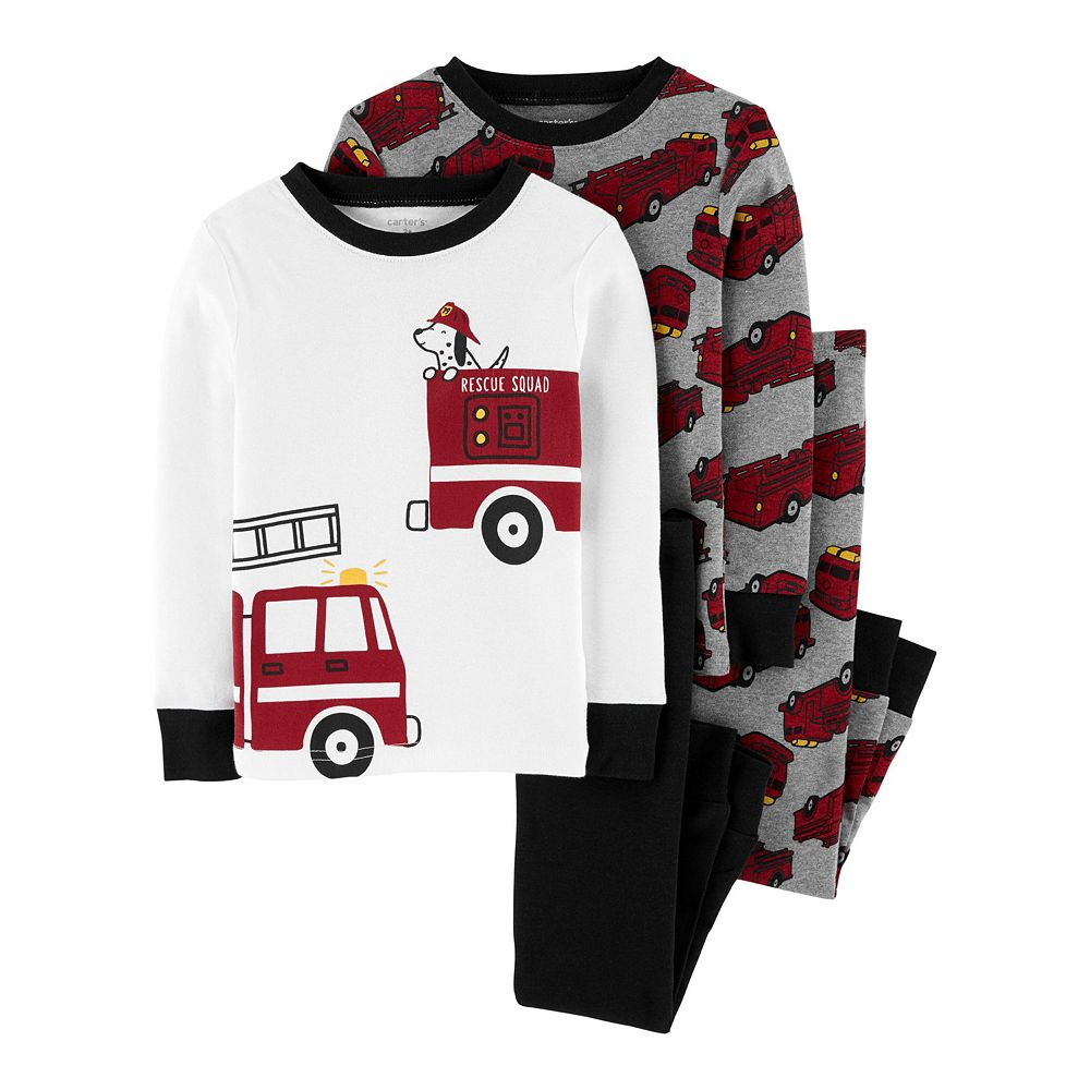 Toddler Boy Carter's 4 Piece Fire Truck Pajama Set