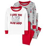 Toddler Boy Carter's 4 Piece Valentine's Day Sloth Pajama Set