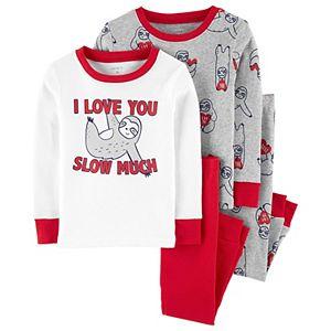 Toddler Boy Carter's 4 Piece Valentine's Day Sloth Pajama Set