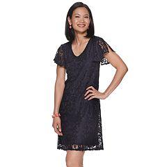 Women's Dana Buchman Flutter Sleeve A-Line Lace Dress