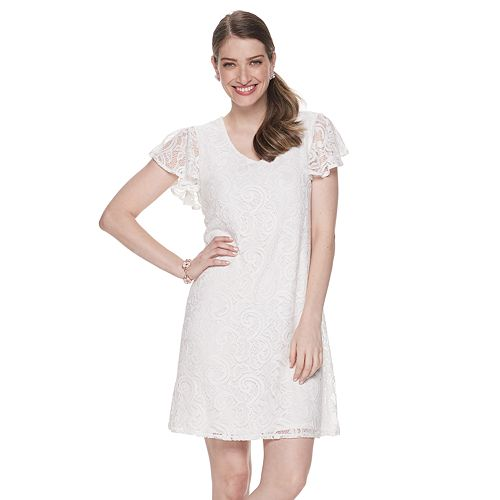 Women's Dana Buchman Flutter Sleeve A-Line Lace Dress