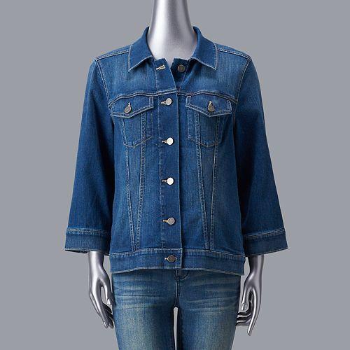 Women's Simply Vera Vera Wang Flare Sleeve Denim Jacket