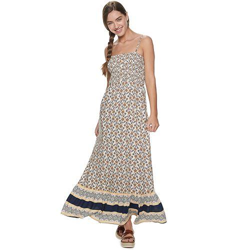 Juniors' Lily Rose Smock Top Border Print Maxi Dress