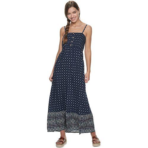 8b4f5195e5d255 Juniors  Lily Rose Smock Top Border Print Maxi Dress